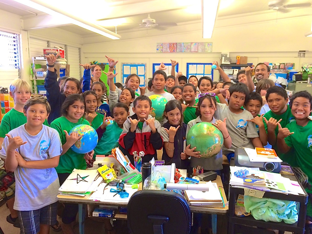 Kaunakakai Elementary School students celebrate GIS Day.