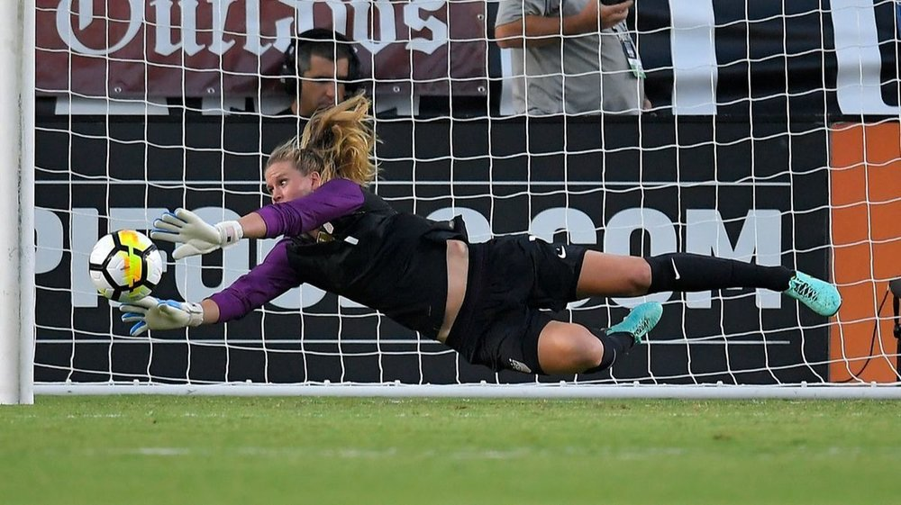 Okay, it's not a goal- it's Alyssa Naeher, Team USA Keeper making a diving save- my daughter's a Keeper, so this is in here for her!