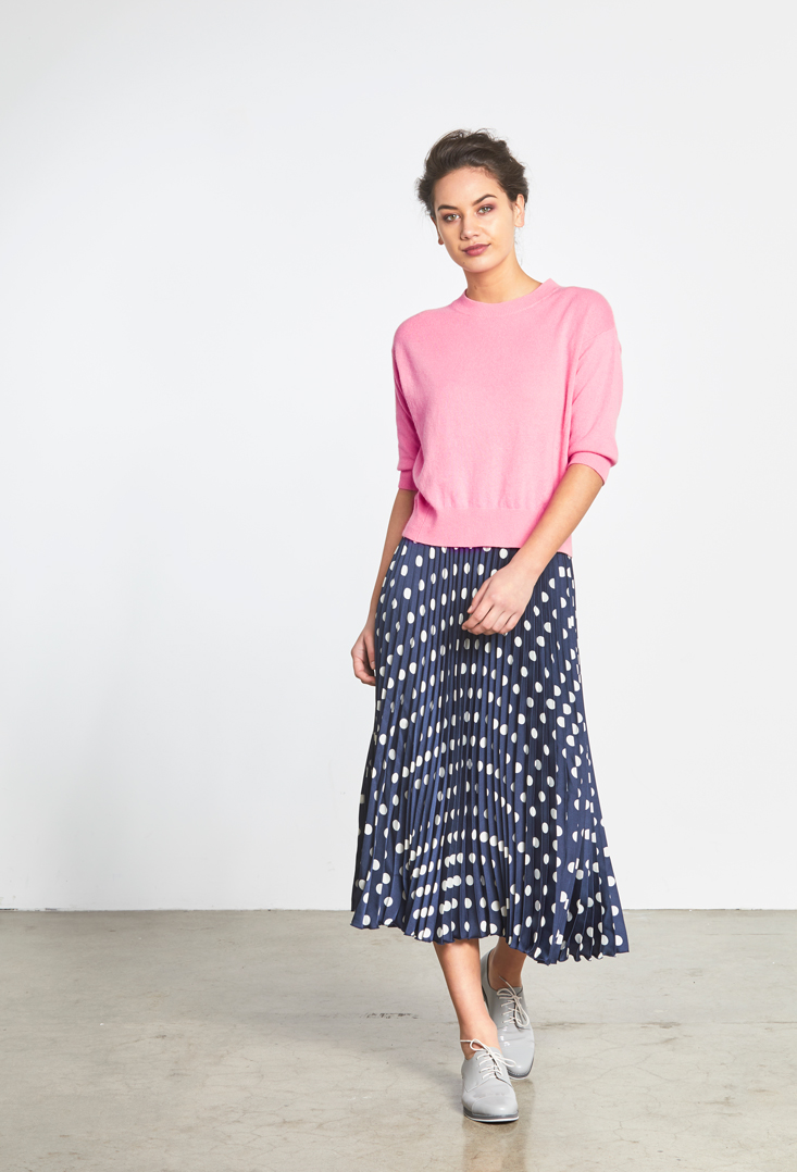 Ayla Short Sleeve Sweater Polka Pleat Skirt.jpg