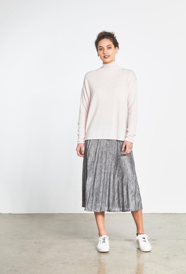 Hazel Sweater Metalic Pleat Skirt.jpg