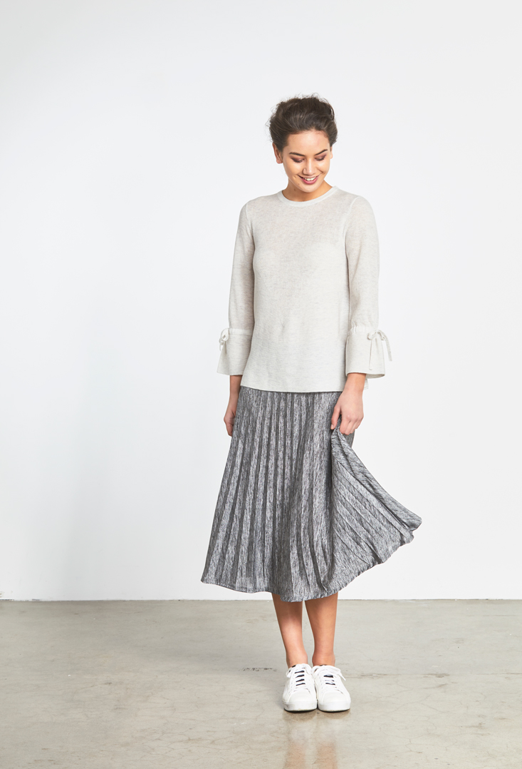 Tie Sleeve Knit Metalic Pleat Skirt.jpg