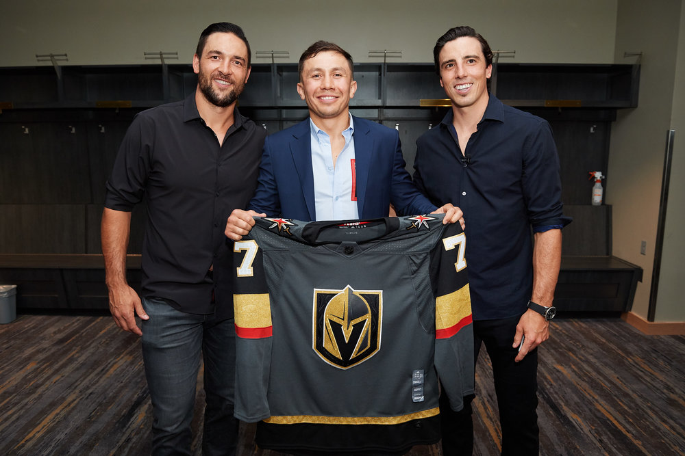 Fleury and Engelland brought GGG his very own Vegas Golden Knights jersey.