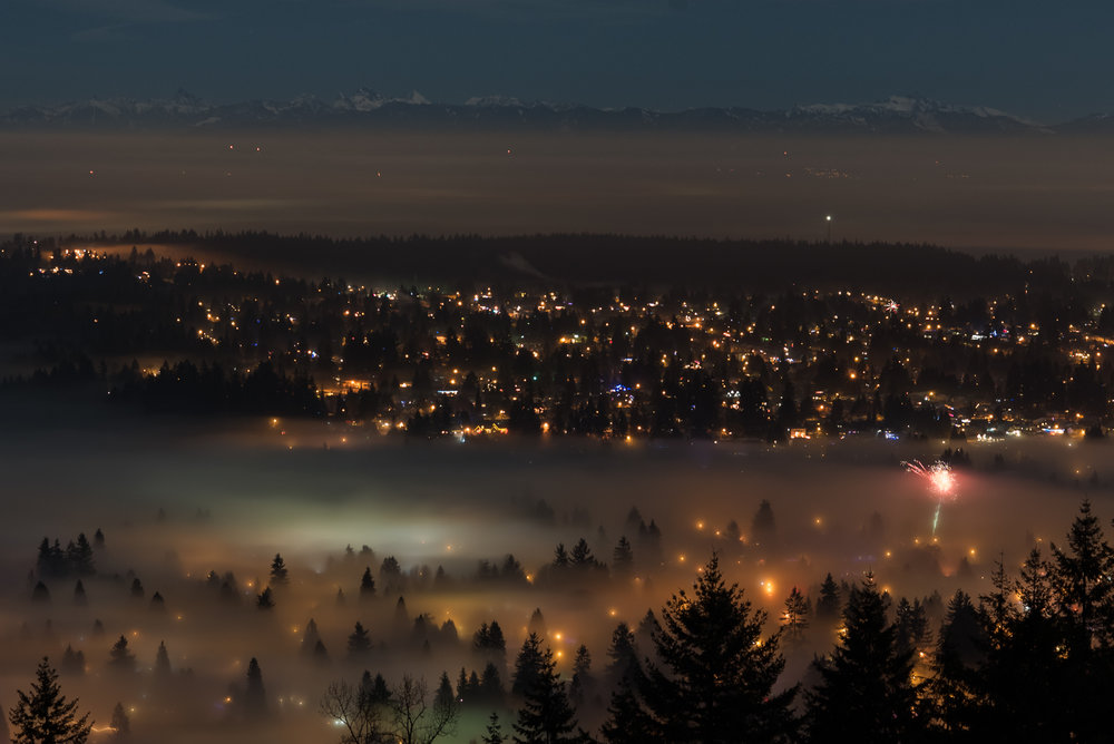 Fireworks over Coquitlam, BC, for New Years Eve 2018. Photo: Kristine Nyborg