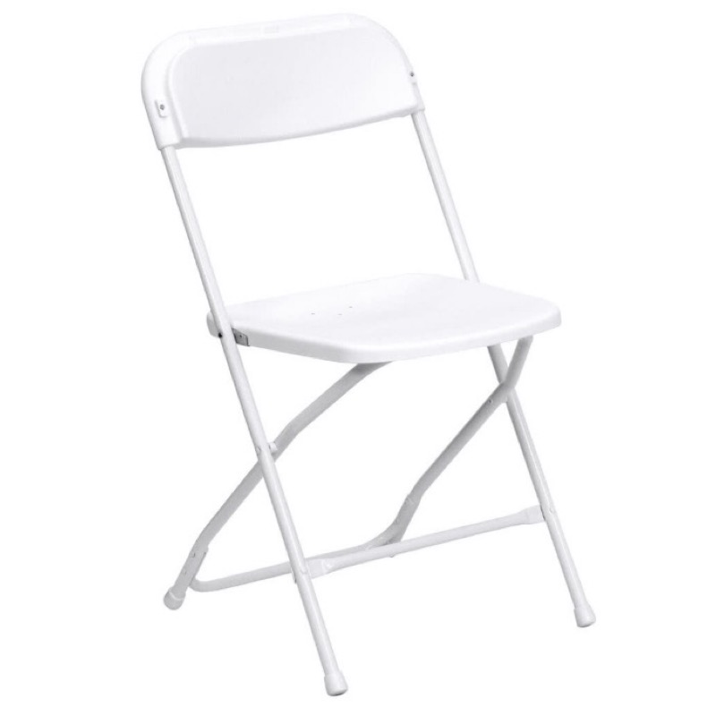 (10) White chairS $20 - Fold-able (10 Total) $2ea