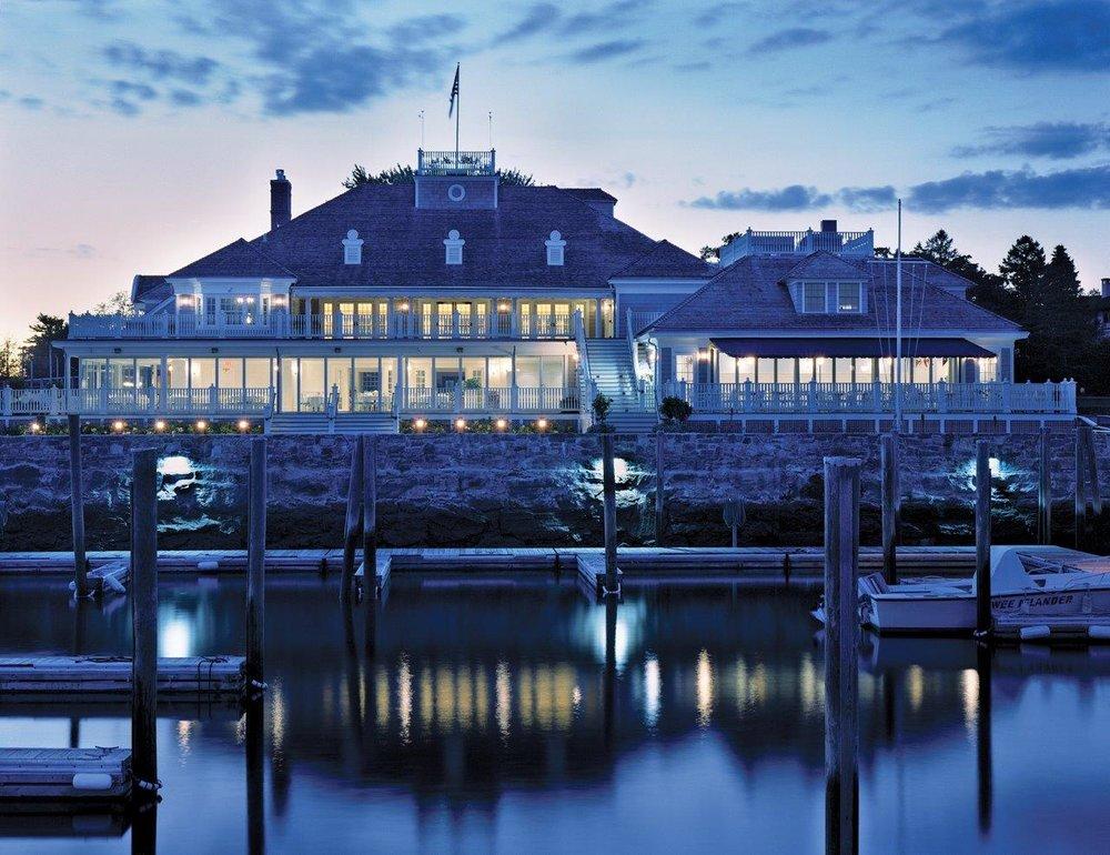 Belle Haven Club dock at dusk