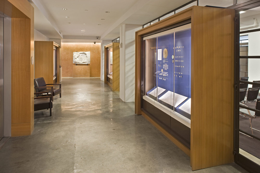 American Numismatic Society hallway display case