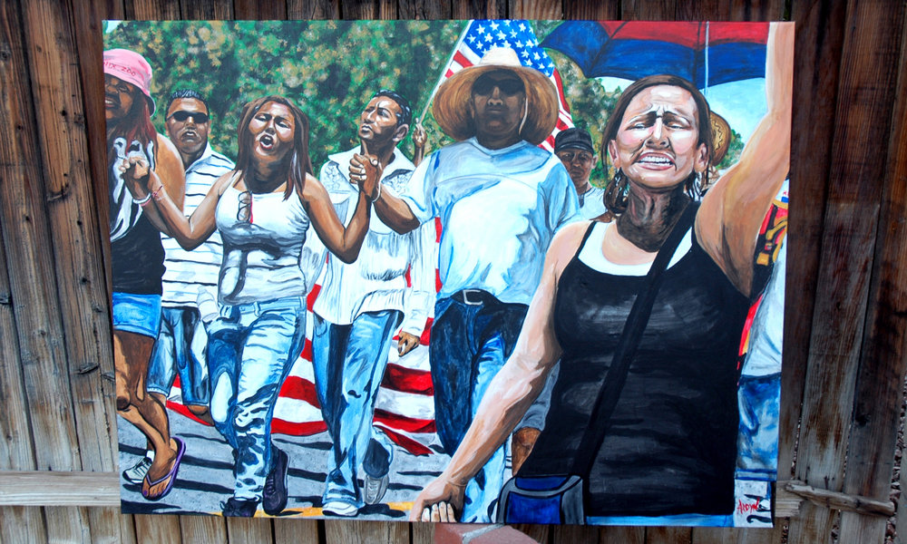 "Marching hand in hand with fellow Arizonans was a powerful experience for Feken. She is disappointed that components of SB 1070, the ""show me your papers"" law, still plagues the state.  Title: SB 1070 March  Medium: Acrylic  Size: 48 x 36 x 1.5  Year of Creation: 2018  Price $3,750 For sales inquiries, please contact Etherton Gallery  www.ethertongallery.com"
