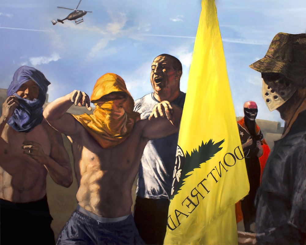 This work reflects the various pro-Trump/gun rights, and anti- immigrant/muslim/minority/liberal sentiments the artist documented at rallies leading up to the 2016 election.  Title: Saturday June 18th, Campaigns IV  Medium: oil on canvas  Size: 48 x 60  Year of Creation: 2017  Price $5,000  For sales inquiries, please contact the artist directly at  www.chrisvena.com