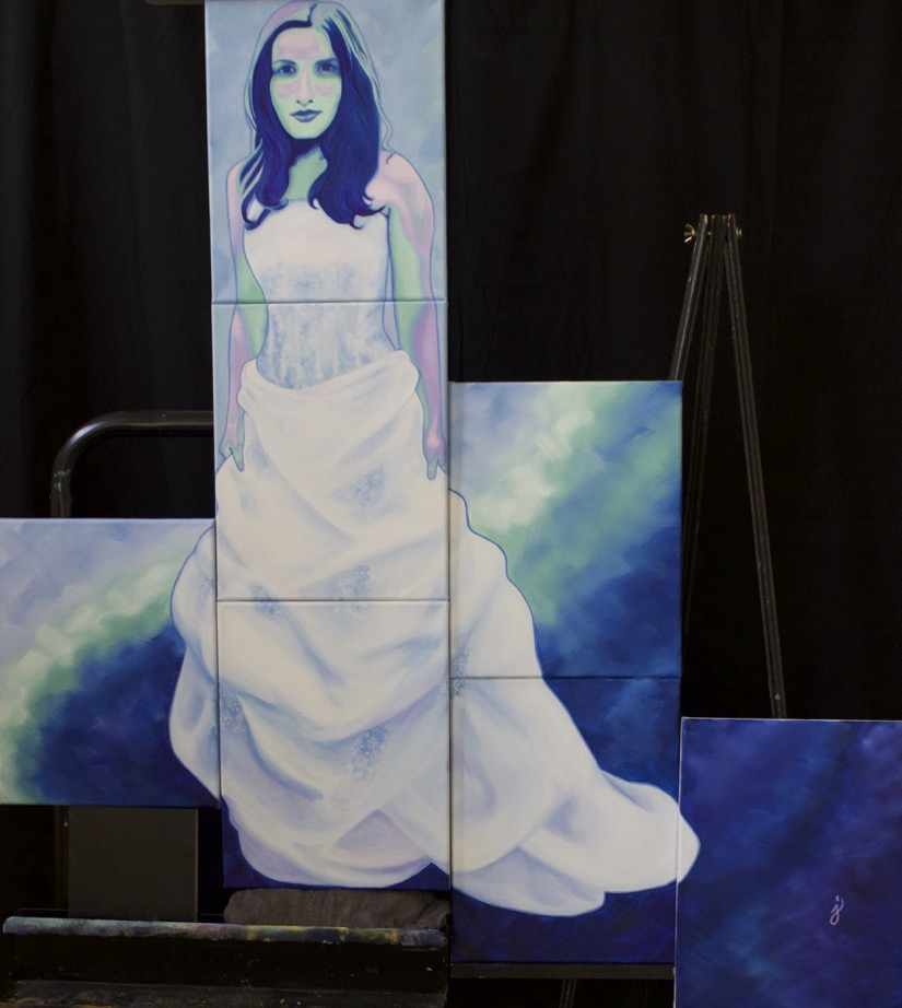 """Love Wins"" is a portrait of Jenna Garcia's wife, Letty, in her wedding gown. As soon as it was legal, the couple wed in Hawaii on their ten-year anniversary with their family, and daughter, by their side. This painting is a celebration of equality and the most powerful emotion, love.  Title: Love Wins  Medium: Oil on Canvas  Size: 48 x 48  Year of Creation: 2018  This artwork is not for sale"