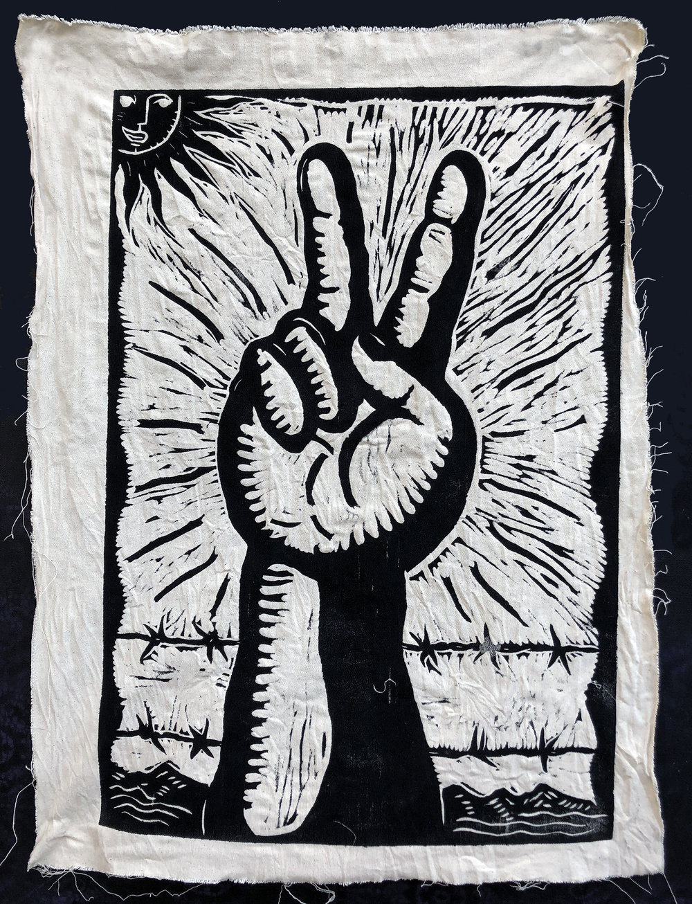 "Sending good vibes is a simple, yet powerful gesture. It's a start. The peace sign sends a message of peace. The hand gesture also indicates two. Two what? There are two of us. We are stronger together.  Title: Vibra Buena  Medium: Oil Monoprint on canvas  Size: 20"" x 28""  Year of Creation: 2018  Price $800  For sales inquiries, please contact Etherton Gallery  www.ethertongallery.com"