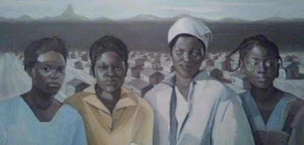 "This is part of a collection of paintings that illustrates the lives of cotton sharecroppers and migrant cotton farmers from the 1930s to 1950s. The objective of the project was to share otherwise untold stories of those who toiled endless hours in the fields, and to raise awareness about the economic impact ""cotton pickers"" had on the U.S. and global economy.  ""Won't name No Buildings After Me""  Oil  36 x 48  2017  Price $6,500  For sales inquiries, please contact Etherton Gallery  www.ethertongallery.com"