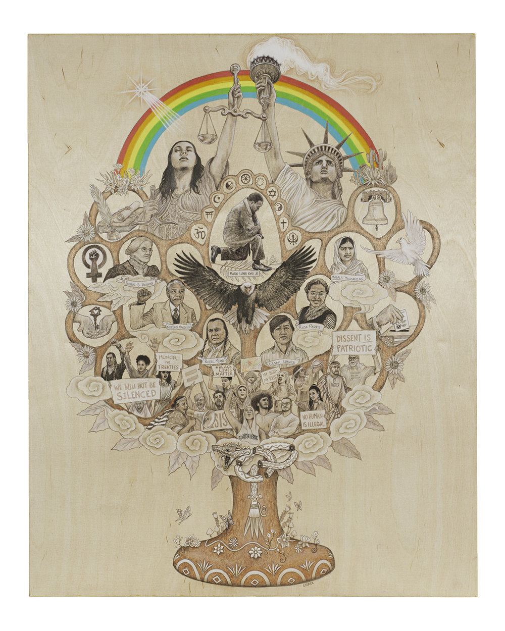 "Mexican folk art and the Tree of Life inspired this creation. ""The Tree of Civil Liberties"" infuses symbolic placeholders for freedom, democracy, peace and justice.  Title: The Tree of Civil Liberties  Medium: Mixed Media on Birch Panel  Size: 44"" H x 35"" W x 1-1/12""  Year of Creation: 2018  Price $3,200  For sales inquiries, please contact the artist directly at  https://rubenurreamoreno1111.blogspot.com/"