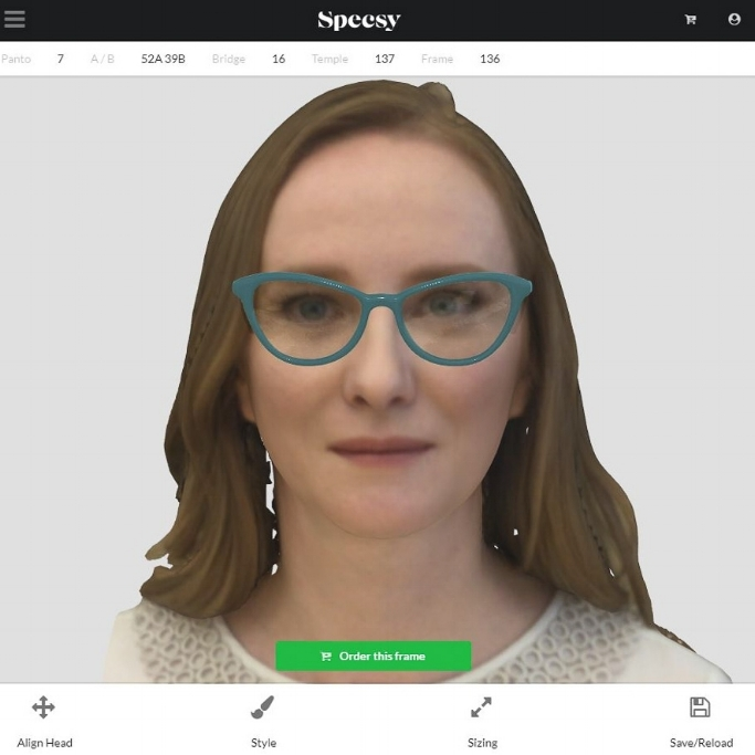 3. Digitally Design Custom Frame - Once the 3D scan is captured, you can work alongside your customer to design every element of their Specsy frames - from color, to pantoscopic tilt, and everything in between.