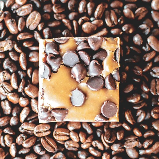 Experience the beautiful union of chocolate and coffee with our spectacular Java Chip fudge. #sofudgingdelicious #javachip #fudgeyeah #coffee #chocolate #mocha #java #treatyoself #fudgeyeah #fudge #dessert #yum #eatme