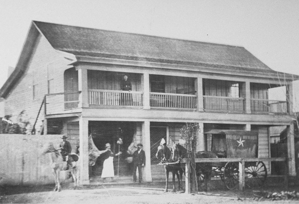"Valenti's Meat Market on Lincoln Street in Mayfield, 1874. Originally ""Uncle Jim's Cabin,"" James Otterson's tavern. PAHA."