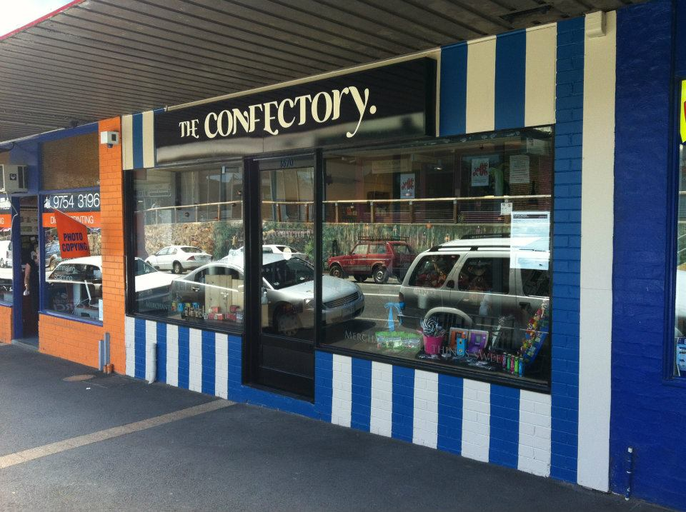 The Confectory was a boutique lolly and liquor store in Belgrave, VIC. Designed for the decedent confectionary lovely, The Confectory stocked a wide range of high end chocolate, lollies, jams and sweet wines, as well as a selection of vegan, gluten free and sugar free options. Runaway Graphics was commissioned to develop a complete branding ID for The Confectory that included logo design, shop signage, print products such as business cards and promotional media, interior design (including the concept and implementation of the back wall of the shop, as well as sourcing, fitting and dressing all fixtures and fittings), and a website.