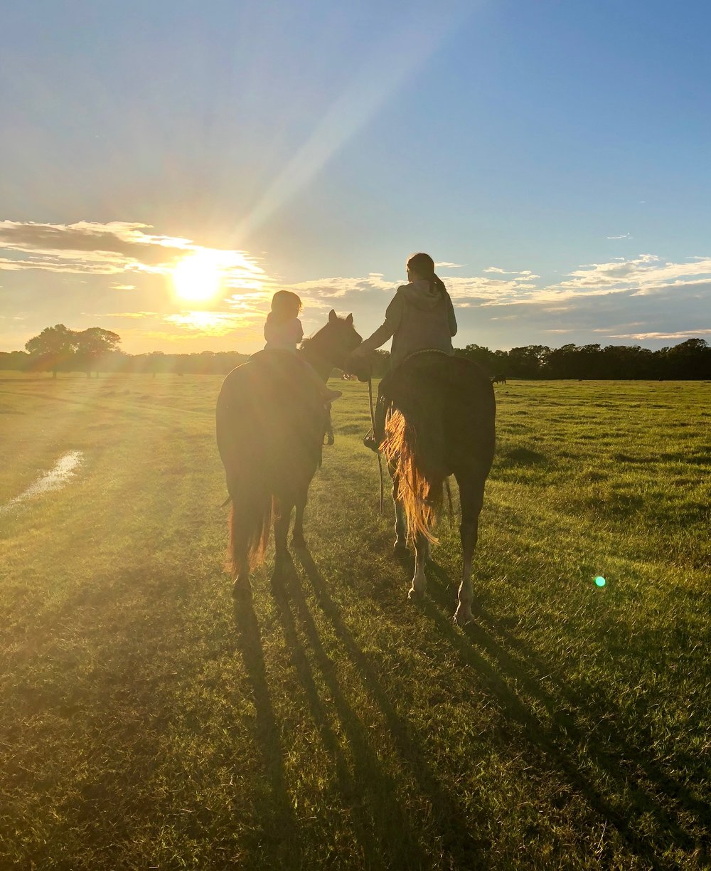 Sunset Ride. Journey and Rorri. Photo by Ricki Boyd.