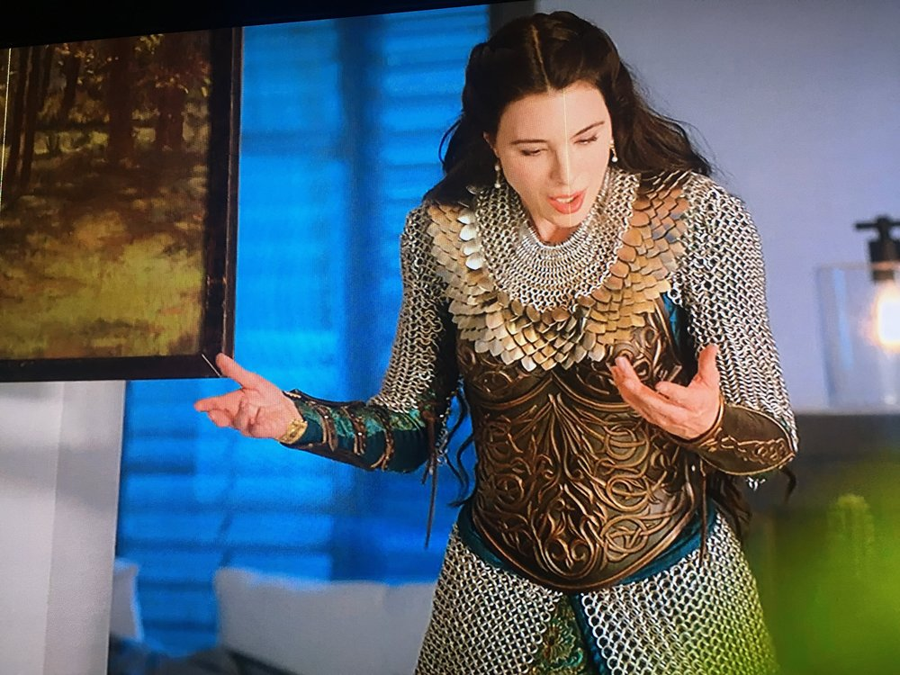 "Delilah the ""White Witch"" wears an It Is Known ""D'Arc"" scalemaille collar on NBC's ""Midnight, Texas"","" S2 E89."
