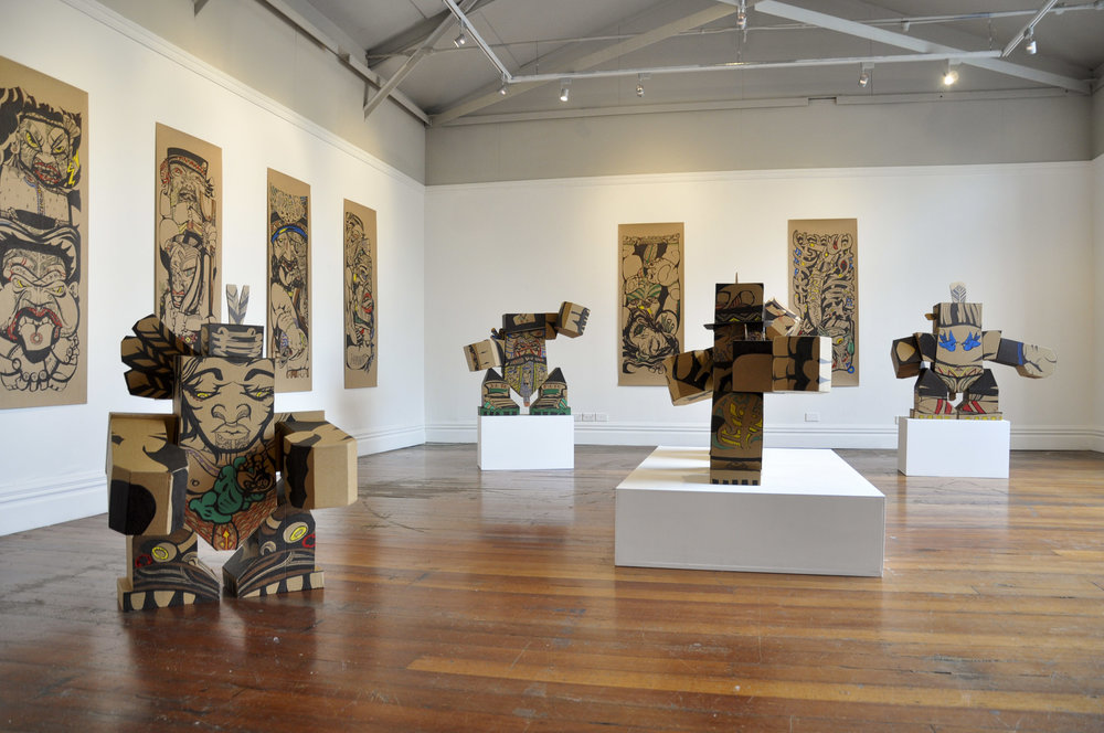 Reweti Arapere  Rakau Matarau  installation view. Image courtesy of the artist and Enjoy Gallery
