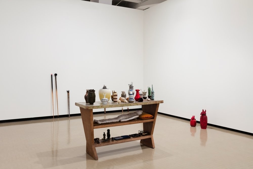 Francis Upritchard: Jealous Saboteurs  installation view with  Traveller's Collection  (2003) at City Gallery Wellington, 2016. Photo: Shaun Waugh. Image courtesy of City Gallery Wellington.