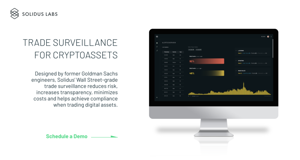 SolidusLabs - Designed by former Goldman Sachs FinTech engineers, Solidus' Wall Street-grade trade surveillance infrastructure reduces risk, increases transparency, minimizes costs and helps achieve compliance when trading digital assets.  Solidus Labs ⇀