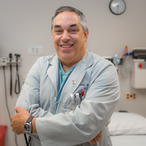 Jeffrey Gordon, MD, FACEP - Medical Director of Emergency DepartmentResidency: Cook County HospitalMedical School: University of Illinois, ChicagoUndergraduate: The Johns Hopkins UniversityHometown: Riverwoods, ILHobbies: time with family, beach vacations, hiking, cyclingYears at Res: 17