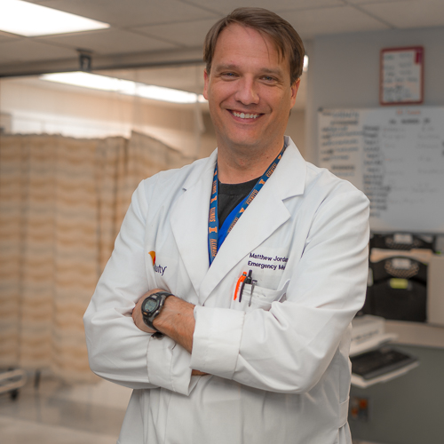 Mathew Jordan, MD, FACEP - EMS DirectorResidency: University of Illinois, ChicagoMedical School: Southern Illinois University School of MedicineUndergraduate: University of Illinois at Urbana-ChampaignHometown: Pontiac, ILHobbies: Guitar, runningYears at Res: 15