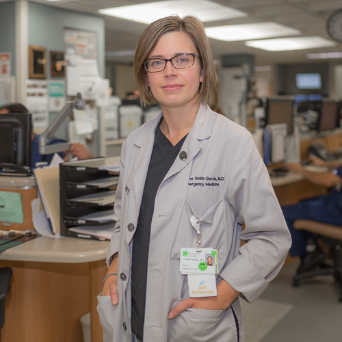 Jennifer Smith-Garcia, MD, FACEP - Residency: Resurrection EMMedical School: Wright State UniversityUndergraduate: Wittenberg UniversityHometown: Clinton, OHHobbies: being a mom, hiking, bakingYears at Res: 3