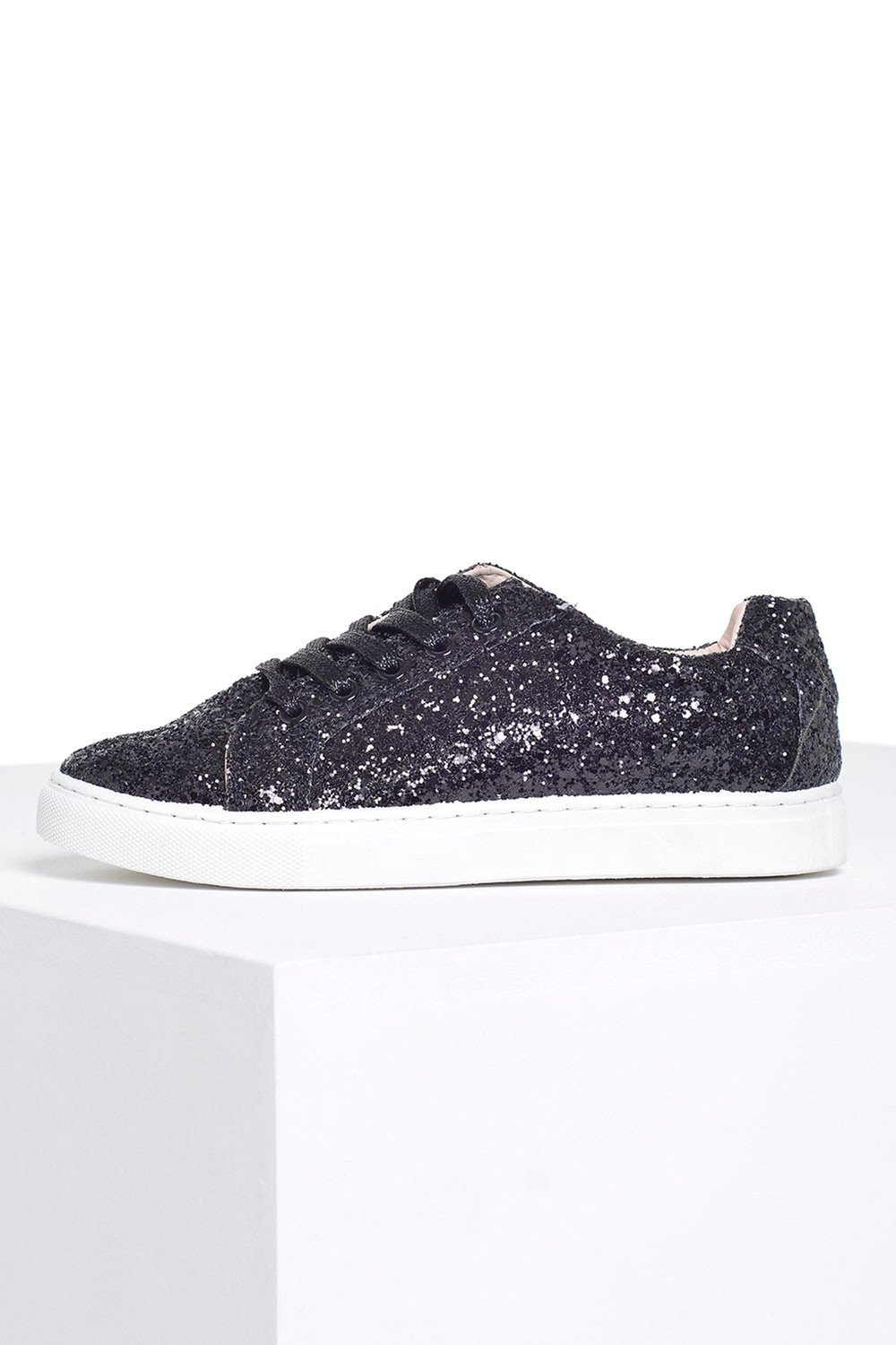 Jollie Glitter Lace Up Runners in Black  - €11.95_£10.60 - iclothing.com.jpg