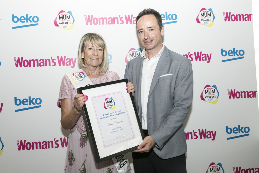 Ian pictured with Social Media Ambassador Alison Canavan (accepted by mum, Margaret)