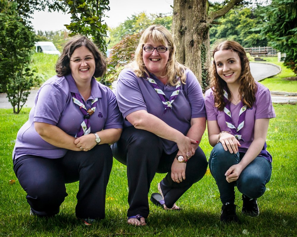 International  Guide Camp Chief Jenny Gannon (centre) with her two Assistant Camp Chiefs, Gillian Finan (left ) and Áine Divilly (right) -  Photographer Pat McCoole