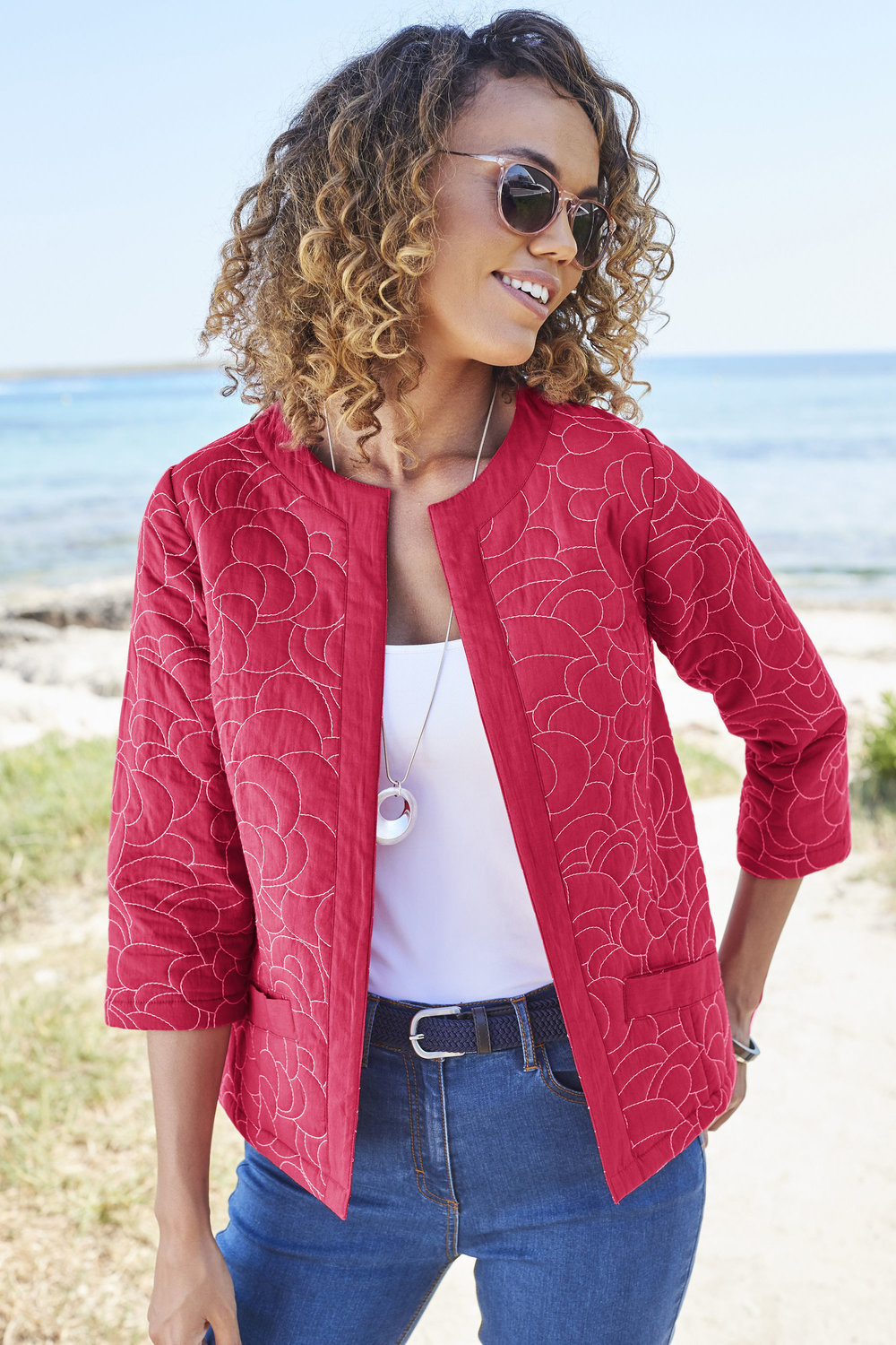 8. Cotton Traders Red Coral Embroidered Quilted Jacket
