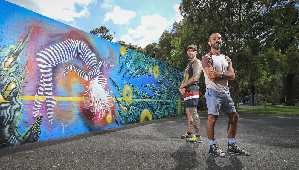 Was fortunate enough to get commissioned by City of Port Phillip to create art work with talented graffiti artist, Paul Round. PICTURED me with Paul Round