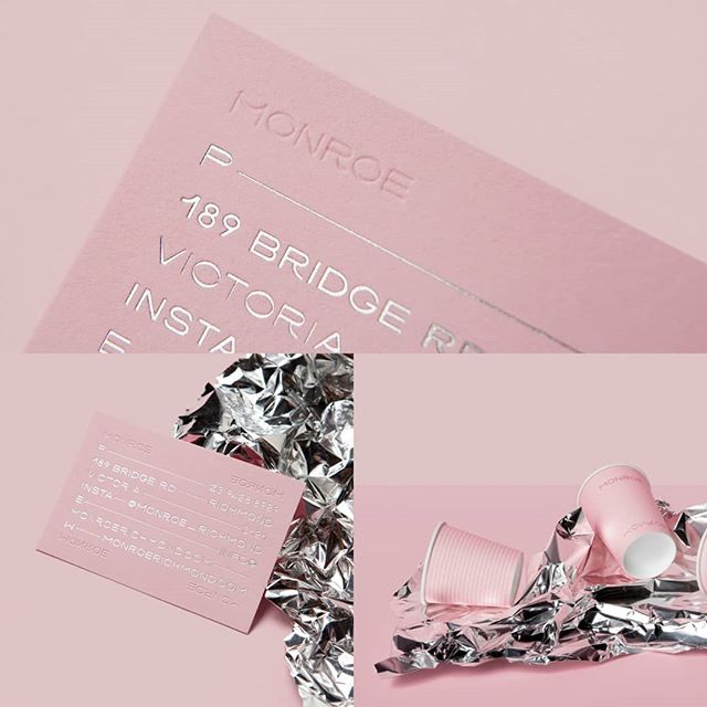 What a sweet and elegant identity designed by @pop_and_pac for @monroe_richmond a restaurant based in Melbourne. A custom typography, a pastel pink and a silver gilding for a somptuous result. - - - #branding #brandinspiration #logo #typography #graphicdesign #inspiration #design #creative #logo #logodesign #type #brandidentity #logotype #studio #contemporary #letmebrand #onlylyon #brands #art #creativity #identity #logodesign #branding101 #digital