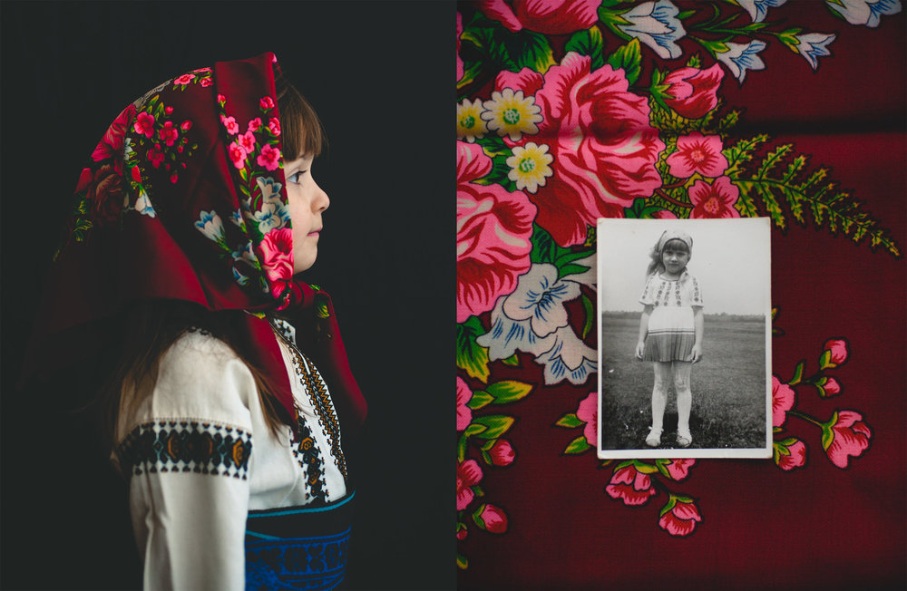 Adina's mother wore this red scarf on her wedding day; on the left Adina's younger daughter, Ilinca, 6, models it while wearing a traditional northern Romanian folk dress hand crafted by the grandmother she never met. On the right, an active young Adina in similar garb still remembers having to stop playing to stand still for this photo.