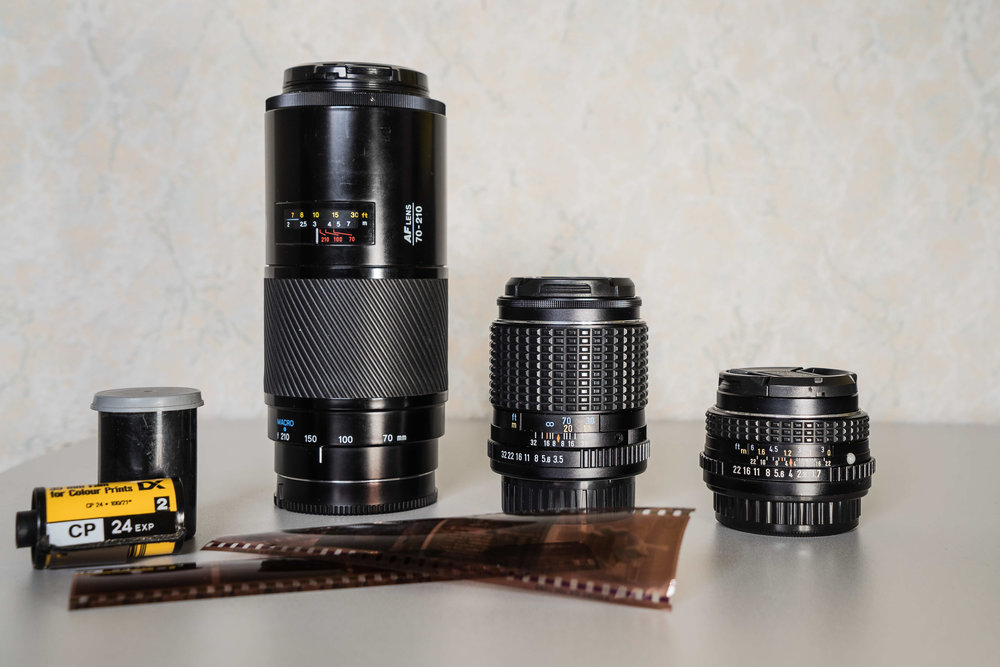 From Left to right. Minolta 70-210AF (The Beer Can), Pentax SMC M 135mm F3.5, Pentax SMC M 50mm F1.7.