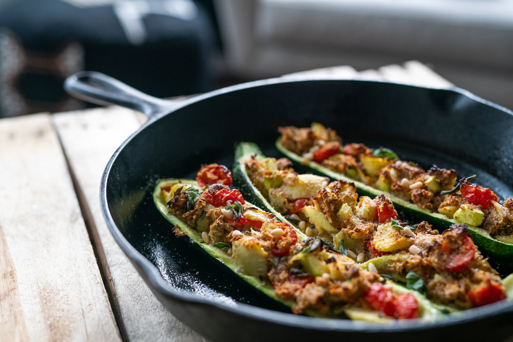 plant based cheese vegan stuffed courgettes