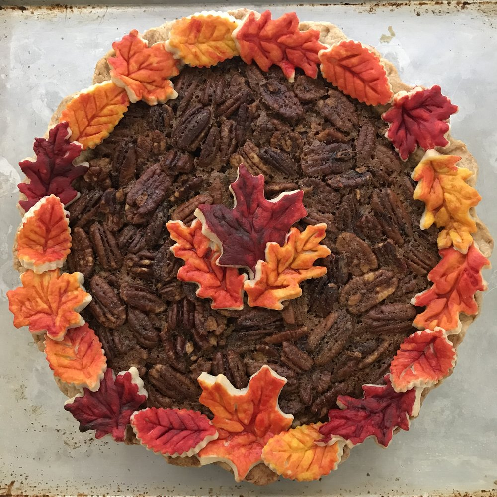 Bourbon Pecan Pie with Painted Leaves
