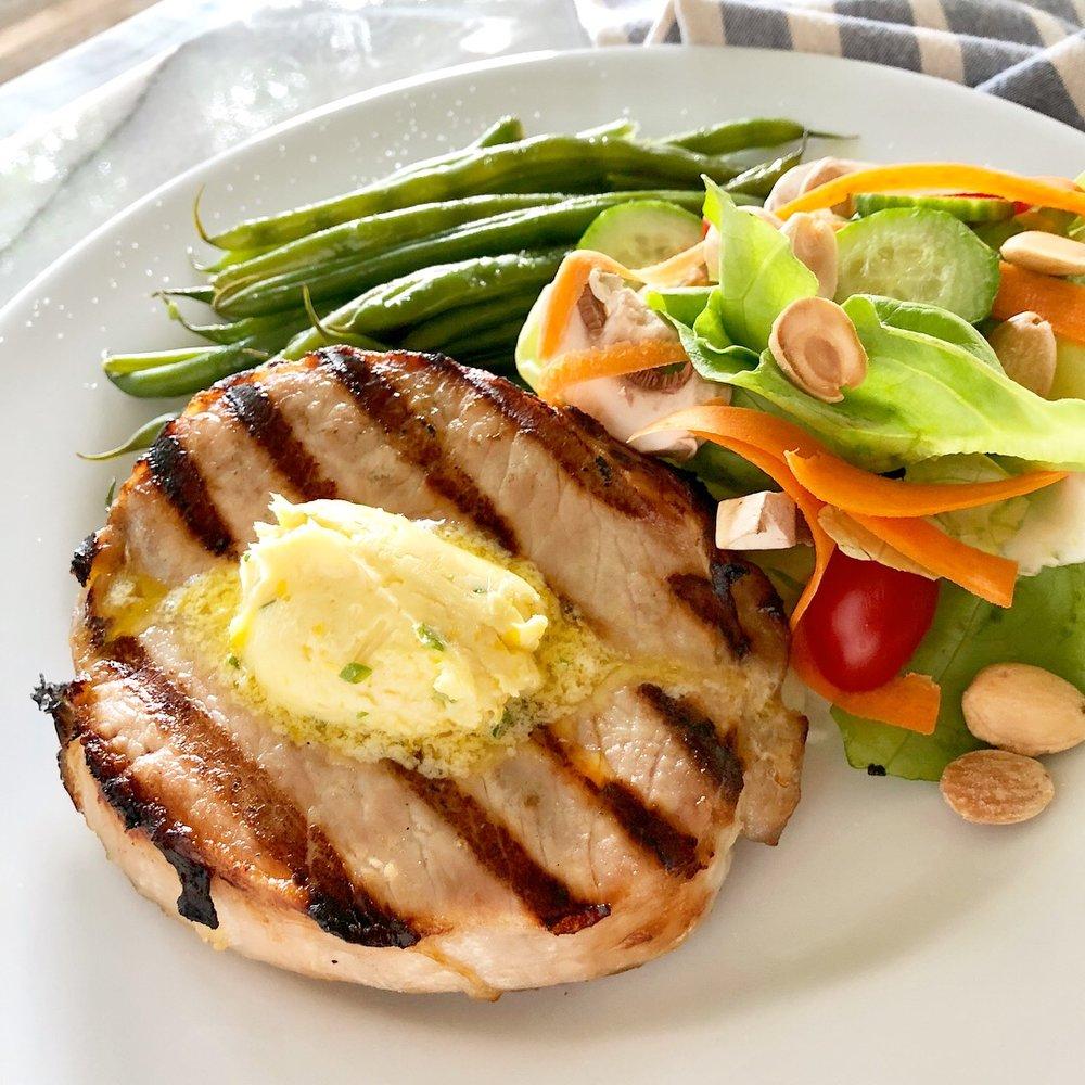 Pork Chop with Lemon-Dijon-Chive Butter
