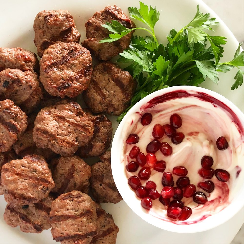 Mediterranean Beef Dippers with Pomegranate Yogurt Sauce