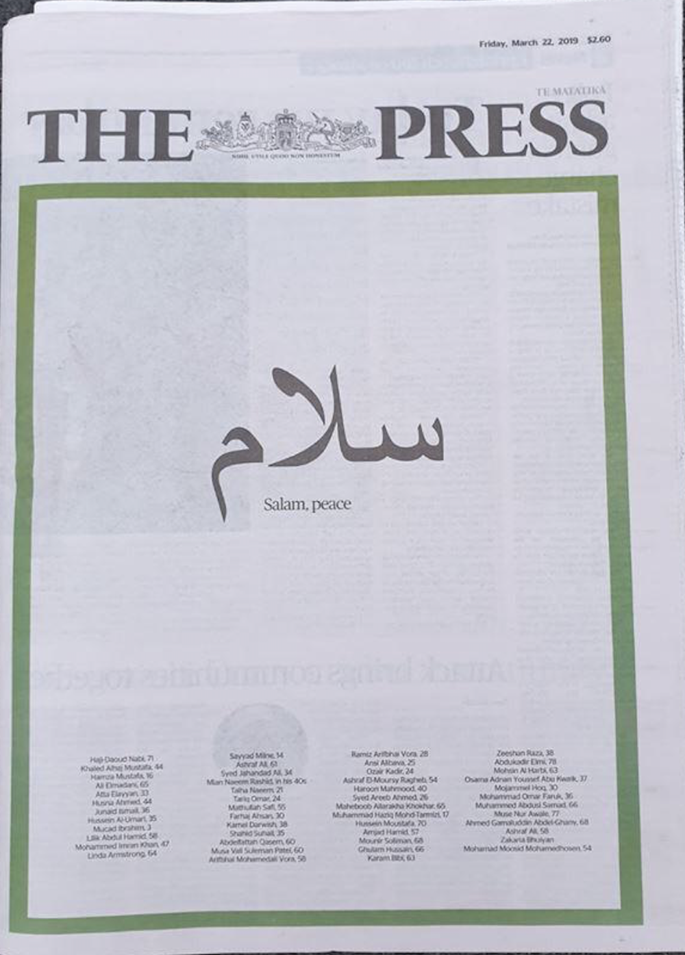 The Press, a daily newspaper published in Christchurch, New Zealand, lists the names of the 50 people killed in the mosque attacks in the March 22nd issue.