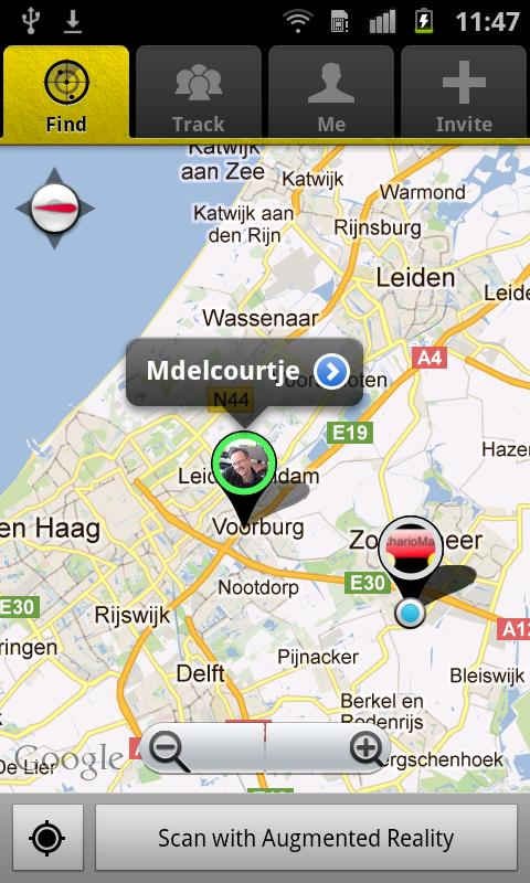 Screenshot of App2Find - the app also enables users to scan their surroundings and find friends