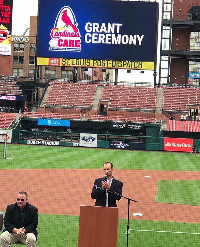 Tonight at the Cardinals Care Grant Ceremony, held before the @Cardinals game against the San Francisco Giants, CHADS was one of the organizations recognized for outstanding work with children in the area! #GoCards #StLCards #CardinalsCare #buschstadium #MentalHealth