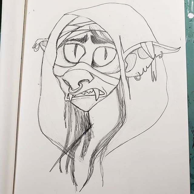 First time watching #pubdraw live! Excited to take first crack at Nott 😁 #criticalrole #goblin #mightynein