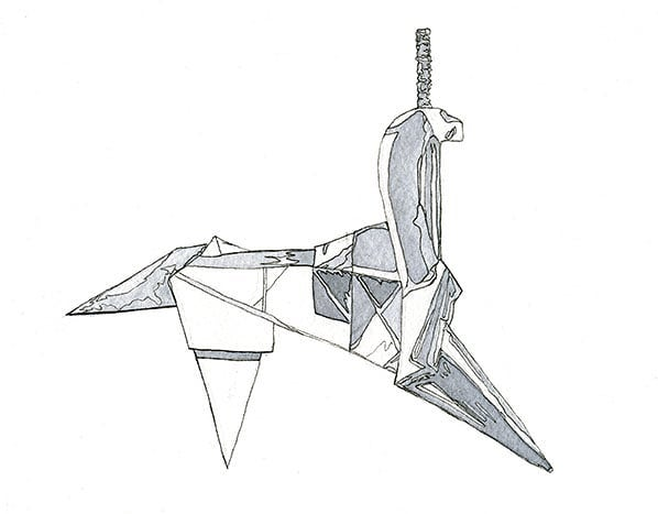 Day 5: Folded! Origami unicorn a la Blade Runner. Watercolor and ink. #aprilartchallenge #aprilartchallenge2019 #bybun #watercolor #watercolorpainting #origami #unicorn #origamiunicorn #bladerunner #replicant #art #scifi