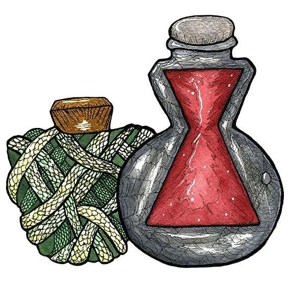Day 8: Bottled. Widow's Curse and Medusa's Revenge. Water color and ink. #aprilartchallenge #aprilartchallenge2019 #bybun #art #watercolor #watercolorpainting #blackwidow #bottle #medusa #greekmythology #mythology #potion #poison #gorgon