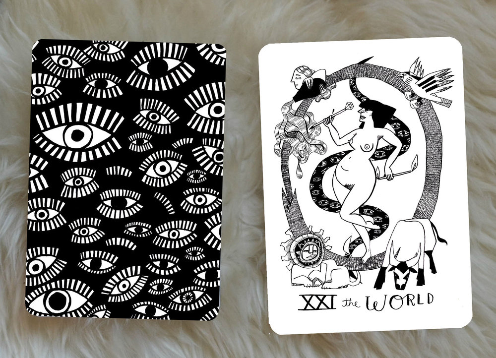 Some of the Interpretations I wrote for the cards: - The World: The cycle is complete. Pat yourself on the back for whatever you have accomplished, it looks good.