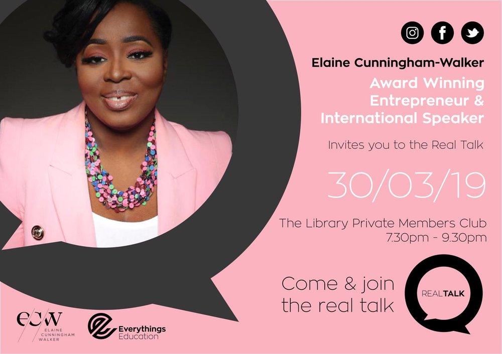 """Real Talk - Come join inspired women share empowering stories.. A gathering led by Life Coach, Award Winning Entrepreneur, International Speaker and Mother to """"Child Genius"""" finalists, Elaine Cunningham-Walker. Get an early ticket here!"""