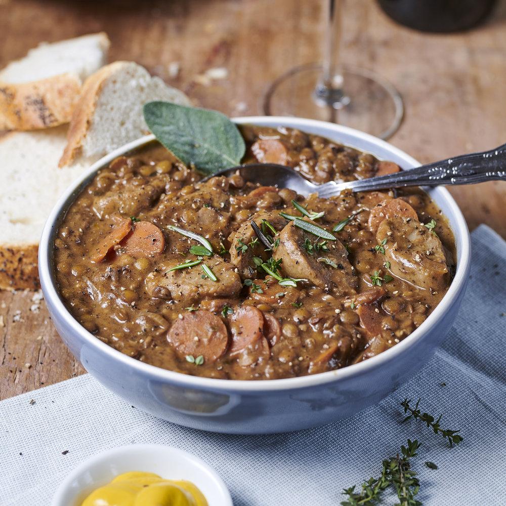 Vegan stew - The Brook sausage casserole
