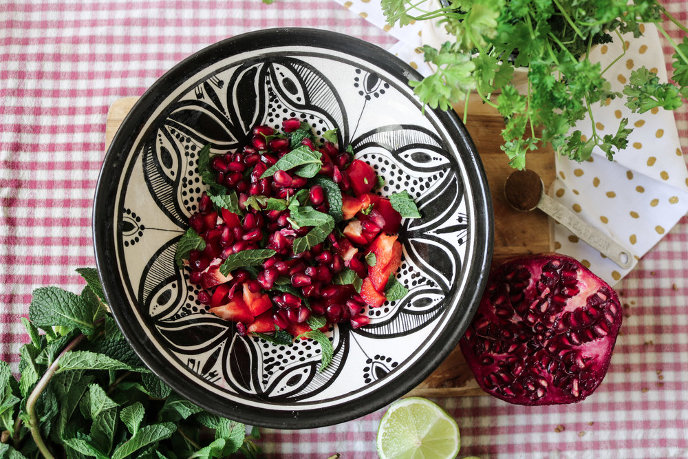 pommegranate, mint and red pepper